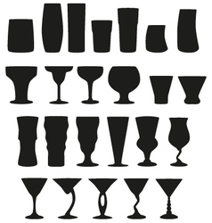 22 silhouette cocktail glasses vector