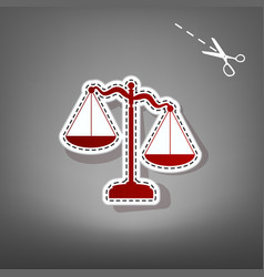 Scales of justice sign  red icon with for vector