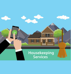 Order housekeeping services apps with smartphone vector