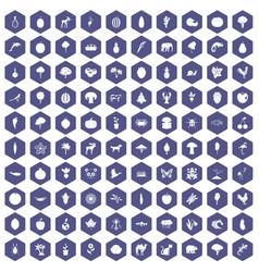 100 live nature icons hexagon purple vector