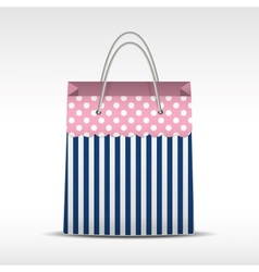 Vintage shopping bag in stripes texture vector