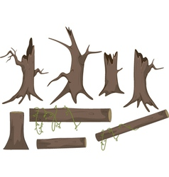 Set of dry trees cartoon vector