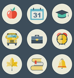 School and education icons flat design set vector