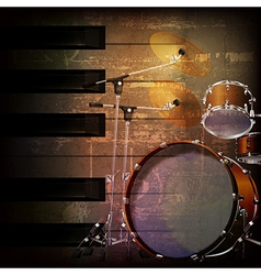 Abstract brown grunge music background with drum vector