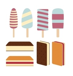 Set a variety of delicious fresh ice cream vector