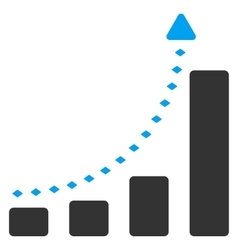 Bar chart positive trend toolbar icon vector