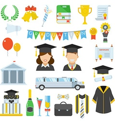 Graduation day certification ceremony icons vector