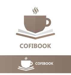 Book and a cup of coffee logo concept vector