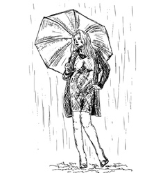 Girl in the rain vector