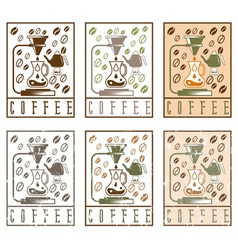 Pour over coffee labels vintage set vector