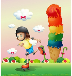 A girl rollerskating at the candyland vector image