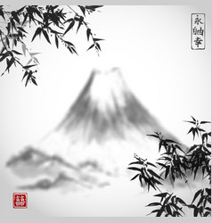 bamboo trees and mountains vector image vector image