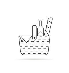 black thin line wicker basket for picnic vector image