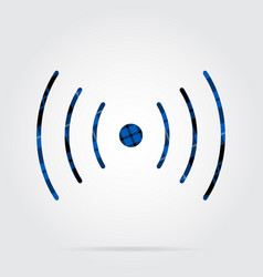 Blue black tartan icon - sound vibration symbol vector