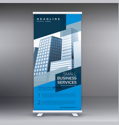 blue display roll up banner design standee vector image