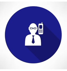 Businessman talking on a phone icon vector