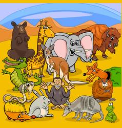 cartoon animal characters group vector image