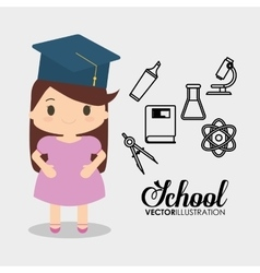 cartoon school girl cap graduation vector image
