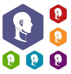 Cervical collar icons set hexagon vector