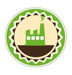 circular emblem of factory and smoke contamination vector image