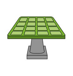 Color image cartoon solar energy panel on platform vector