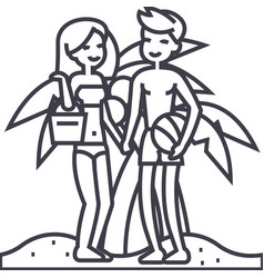 couple on beachsummer vacationwoman and man with vector image