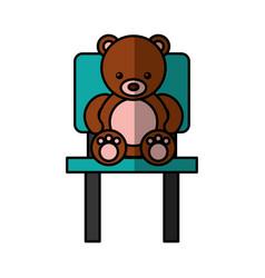 Cute bear teddy sitting on chair vector