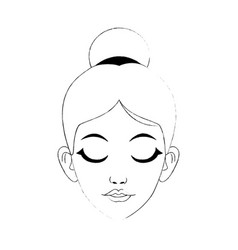 Face of pretty woman with hair in high bun and vector