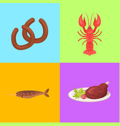 Four pictures concerning food vector