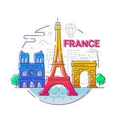 France - modern line travel vector