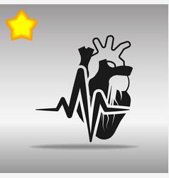 heartbeat heart black icon button logo symbol vector image vector image
