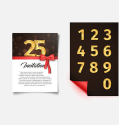 Invitation card template with numbers collection vector