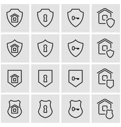 line home security icon set vector image