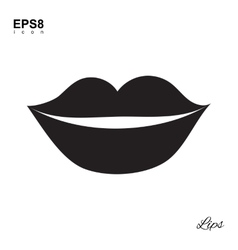Lips Black Icon Isolated vector image vector image