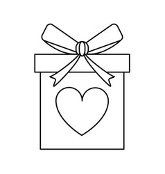 Love gift box bow wrapped line vector