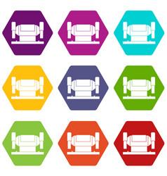 Metalworking machine icon set color hexahedron vector