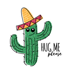 mexican doodle cactus with hug me please vector image