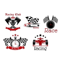 Motorsport symbols for sporting competition design vector image vector image