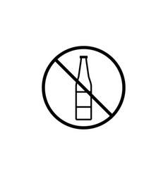 no alcohol line icon prohibition sign forbidden vector image vector image