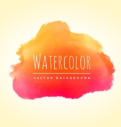 orange pink watercolor stain vector image