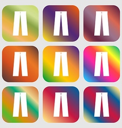 Pants icon sign nine buttons with bright gradients vector