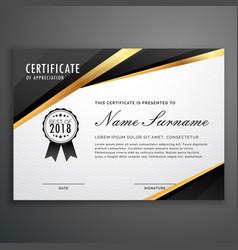 premium golden black certificate template design vector image vector image
