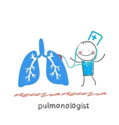 Pulmonologist listens body lungs vector