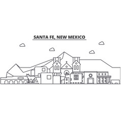 Santa fe new mexico architecture line skyline vector