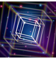 Shiny cube with color aberrations in space vector