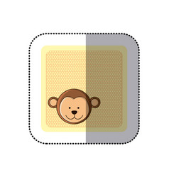 sticker colorful greeting card with picture monkey vector image vector image