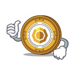 Thumbs up komodo coin character cartoon vector