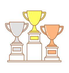 Trophy cup set of golden bronze and silver cup vector