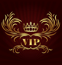 Vip card design with golden crown vector
