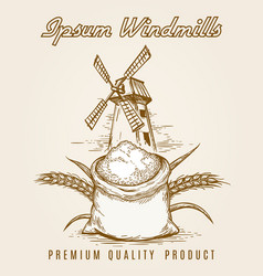 windmill product vintage poster vector image vector image